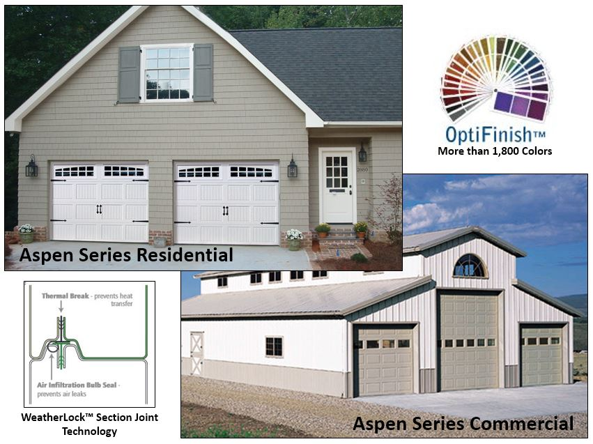 New aspen series garage doors offer energy efficiency and for Energy efficient garage doors